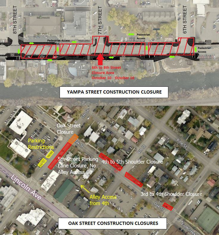 This map shows planned consturction closures on Yampa and Oak streets for the week of Oct. 10.