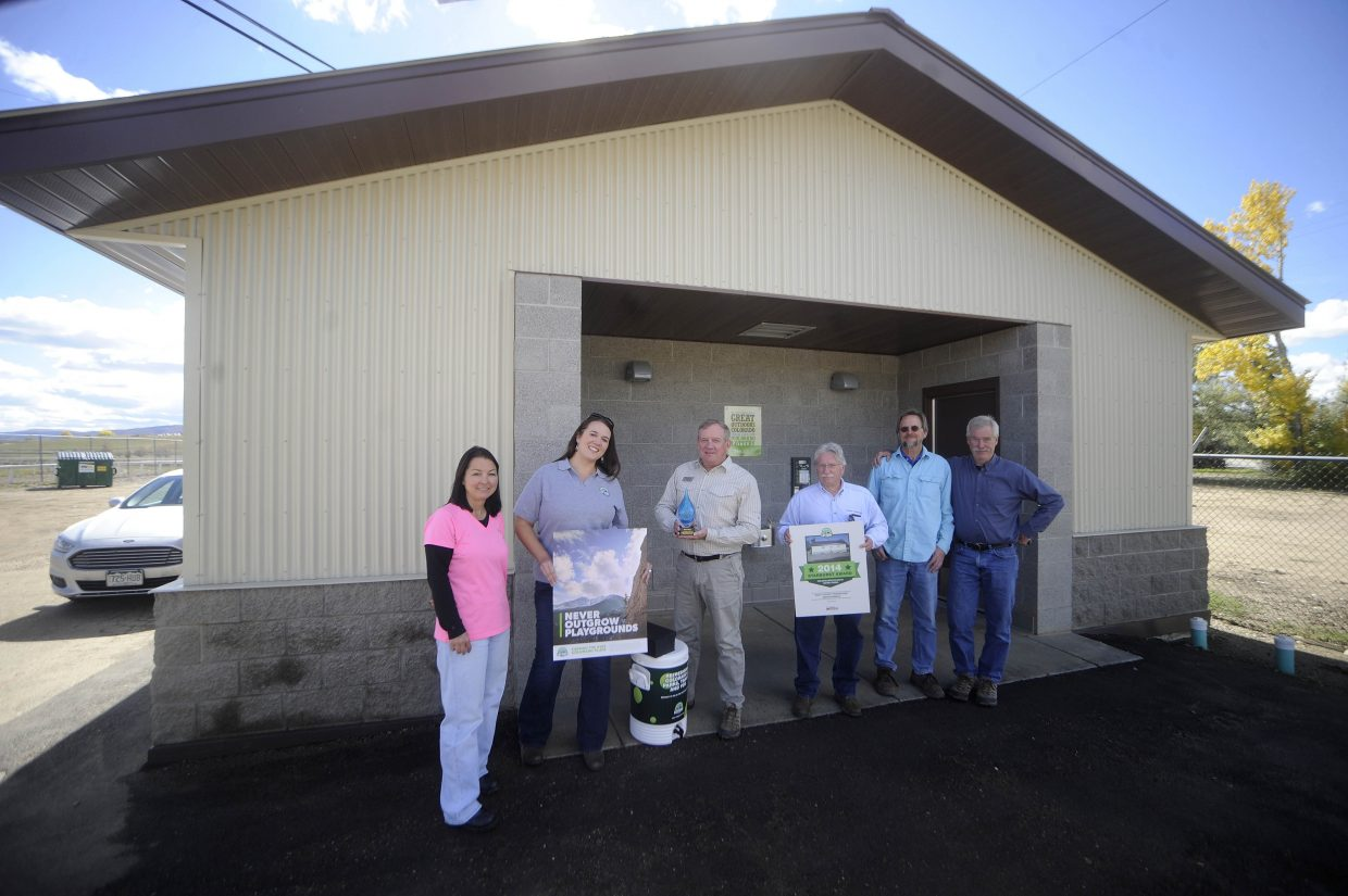 The Colorado Lottery presented the Starburst Community Award to Routt County on Friday for its use of lottery proceeds to build a new bathhouse at the Routt County Fairgrounds.