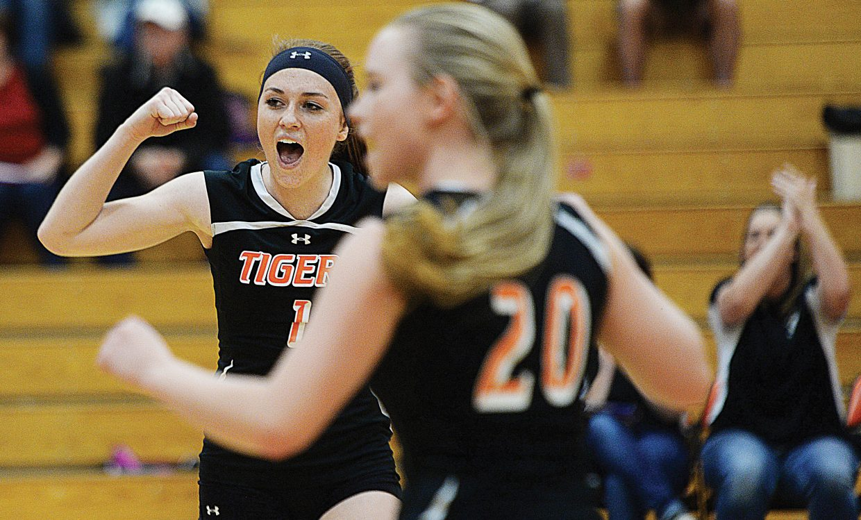 Hayden's Darian Murphy celebrates after the Tigers won a key point in Monday's match against Soroco. The Tigers won the first two games of the match, but the Rams rallied to take the last three and the match, 3-2.