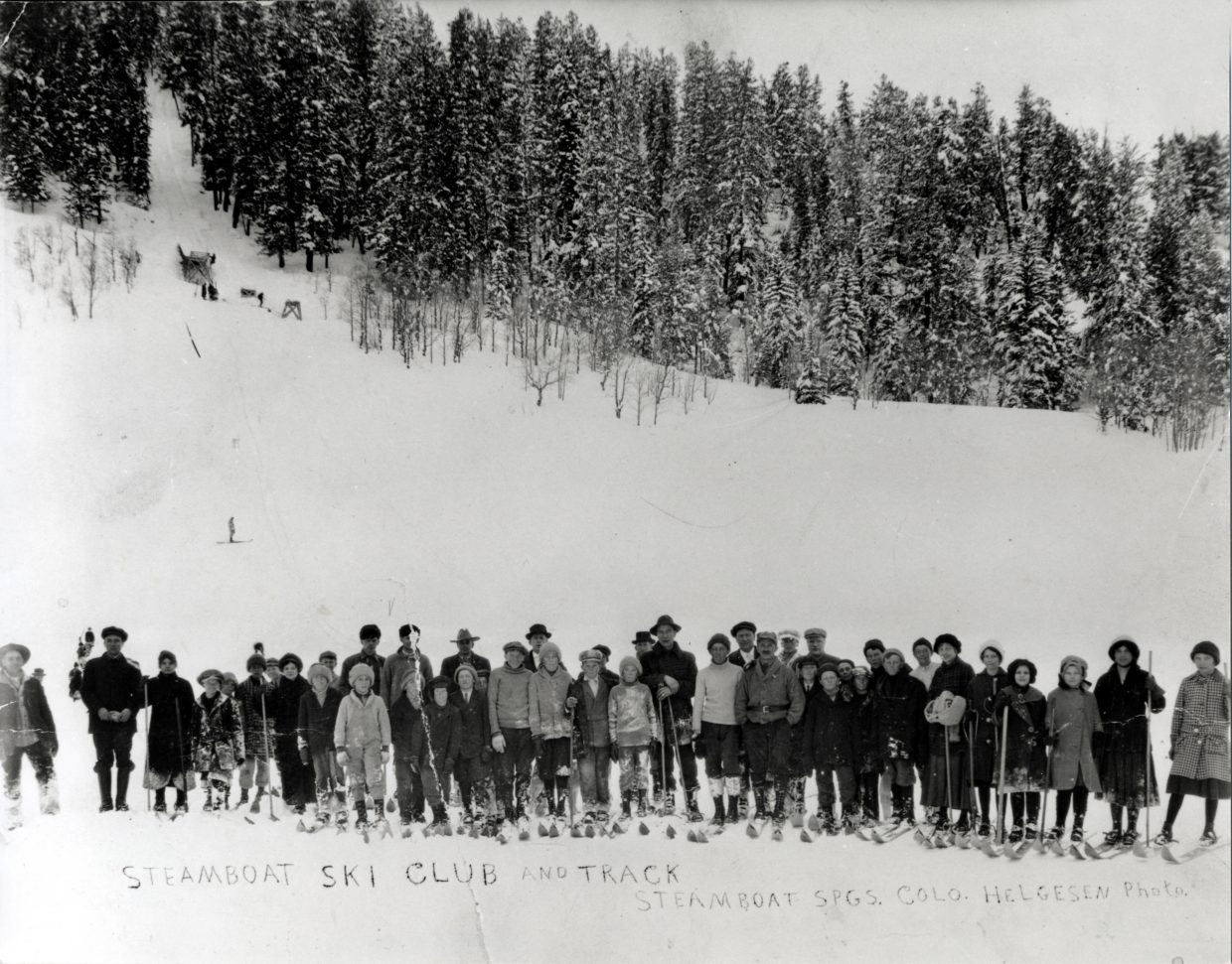 First known photo of the Steamboat Ski Club with coach Carl Howelsen; circa 1915.