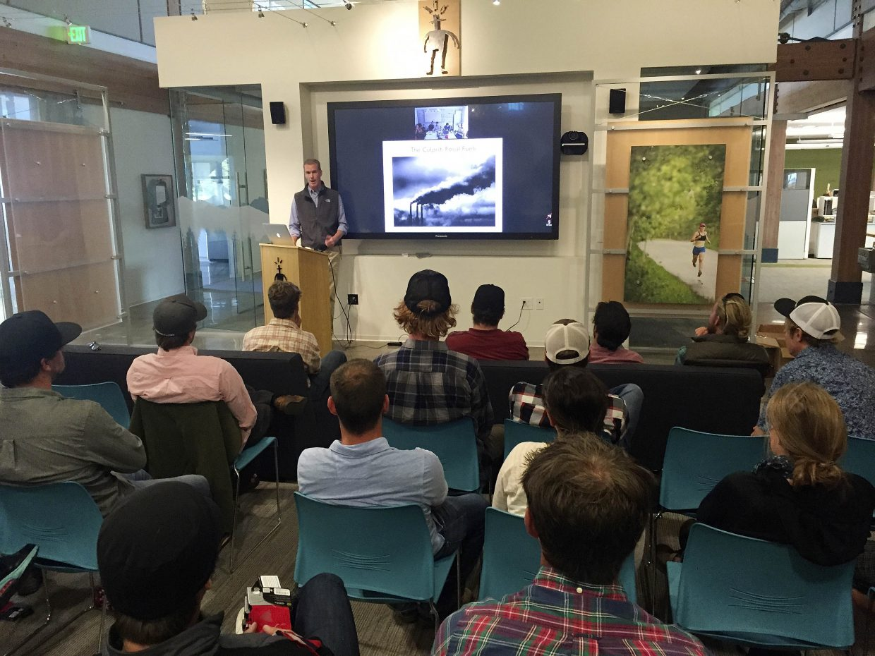 Chris Steinkamp, executive director of Protect Our Winters, speaks Monday at the SmartWool headquarters about the impact of global warming on the winter recreation industry.