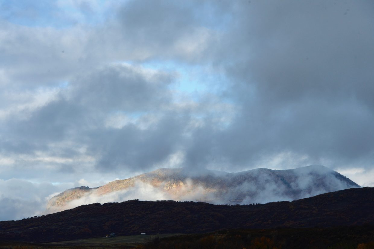 Clouds surround Sleeping Giant on Monday morning.