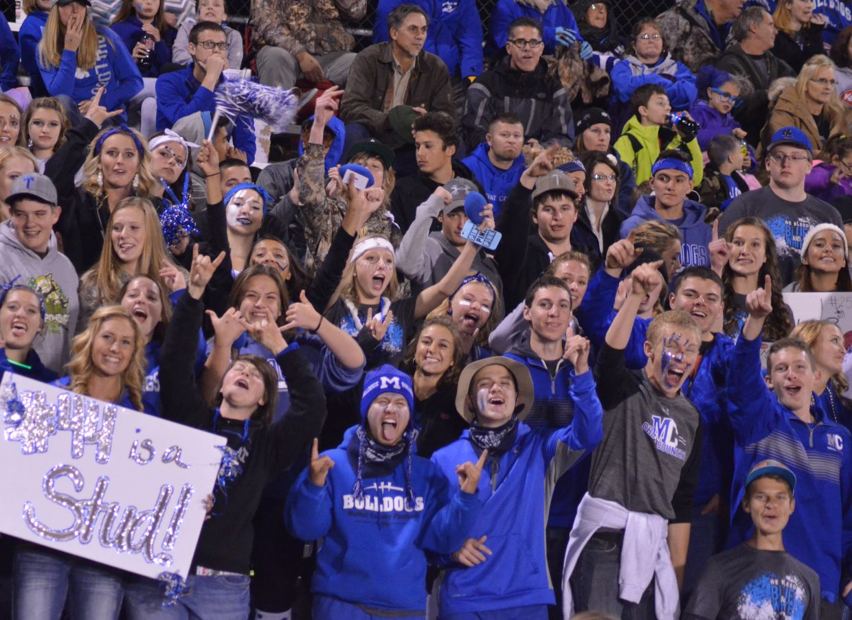 The Moffat County High School student section shows their Bulldog pride.