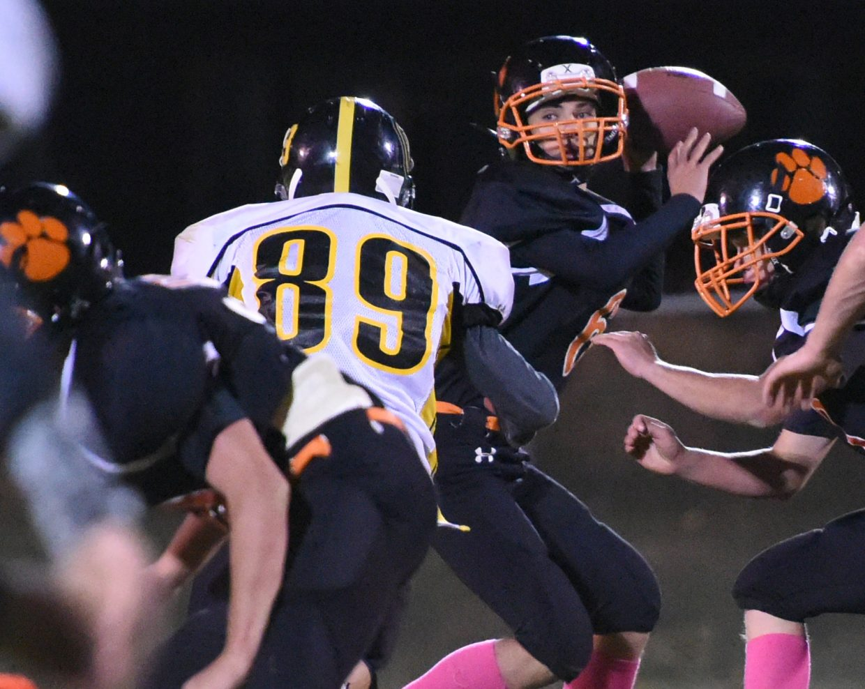 Hayden's Patrick Hunter looks to pass deep Friday against Gilpin County.