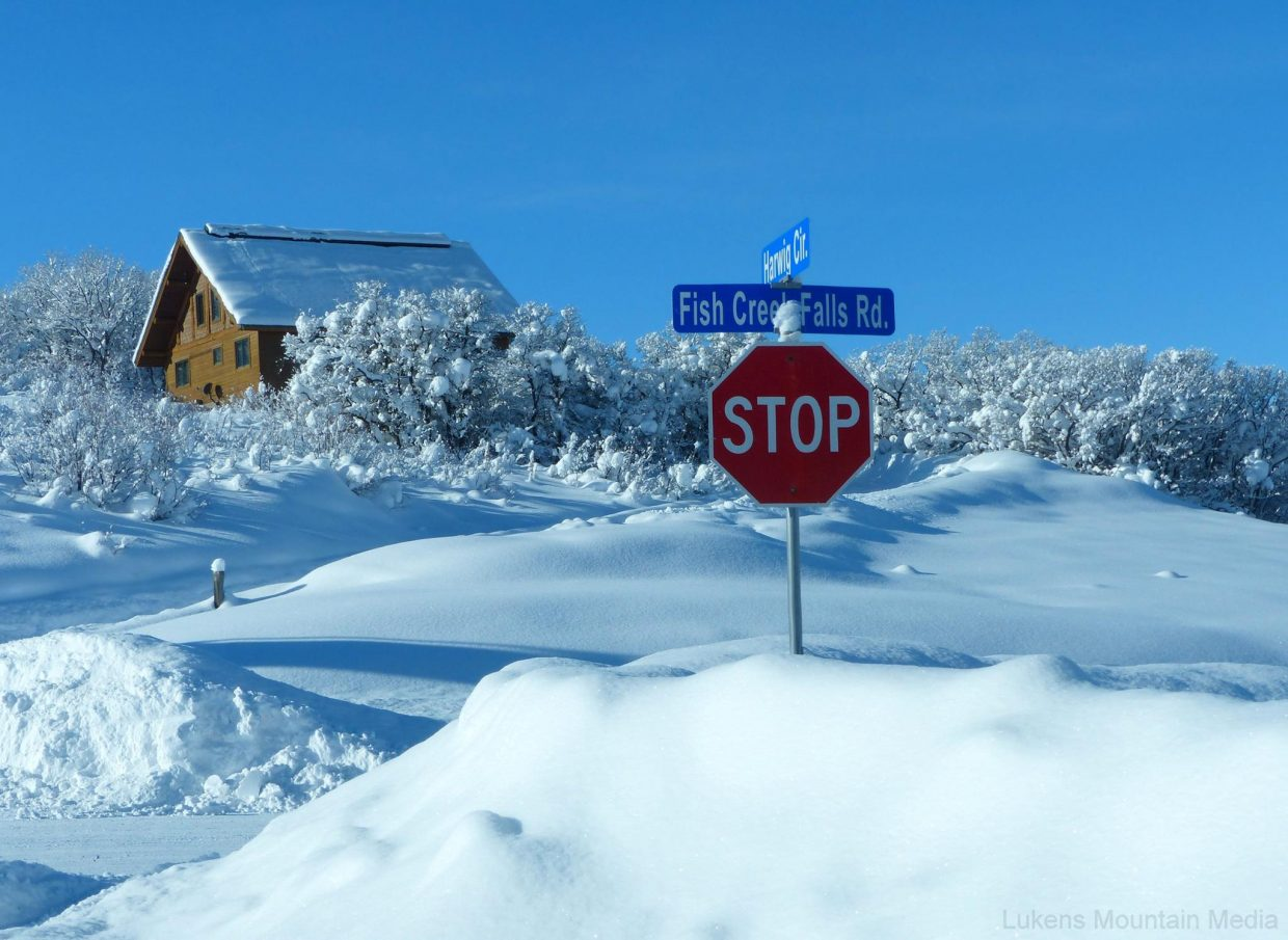 Here is a snowy stop sign on Fish Creek Falls Road. The next chance for snow in Steamboat is Tuesday, at a 20 percent chance.
