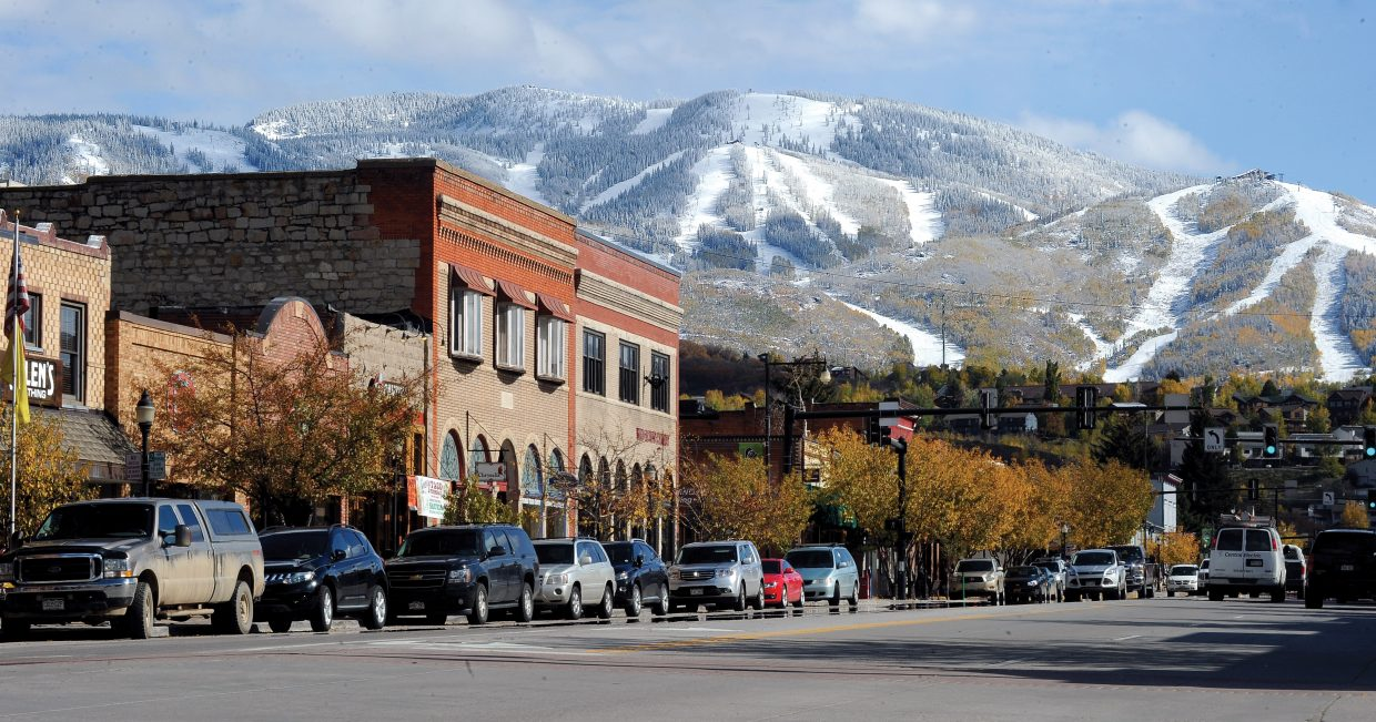 Snow can be seen lining the slopes of the Steamboat Ski Area when the sun came out Tuesday afternoon in Steamboat Springs.