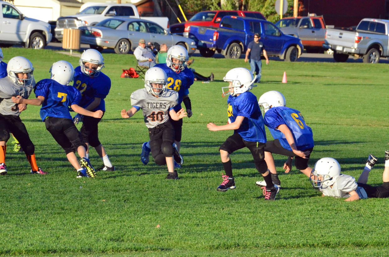 The Intermountain Appliance Chargers' Austin Robinson returns a kick by the Hayden I Tigers Wednesday at Woodbury Sports Complex. The Tigers won, 26-13, to take third place in the third- and fourth-grade division of Doak Walker tackle football.