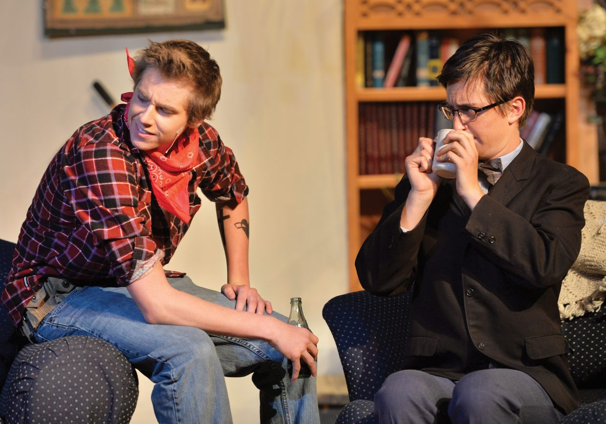 """Owen Musser, played by Sean Kelly, teases Charlie Baker, played by Charlie Tisch, in a scene from the high school's production of """"The Foreigner""""."""