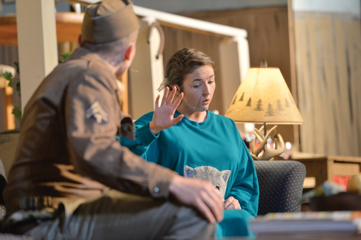 """Froggy LeSueur, played by Charlie Harrington, and Betty Meeks, played by Maggie Carrigan, share a scene for the Steamboat Springs High School's production of """"The Foreigner."""