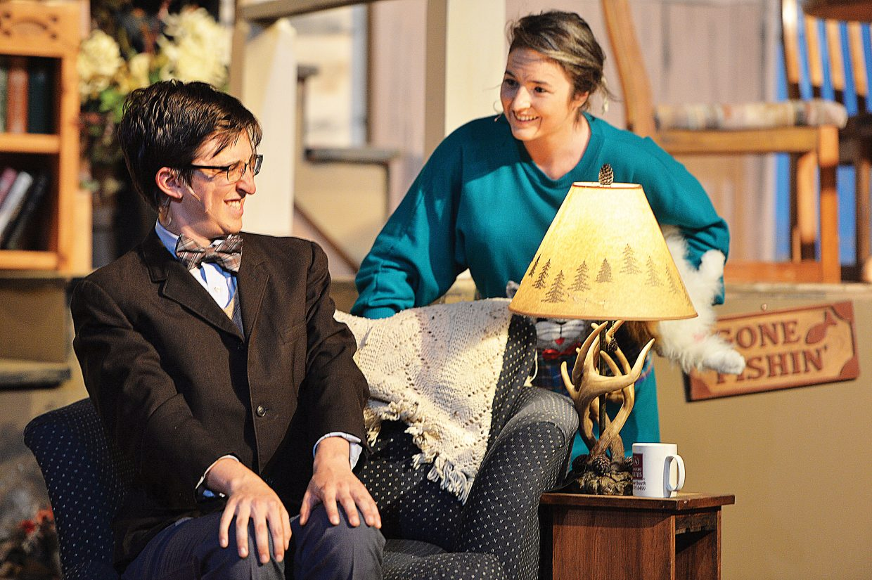 """Charlie Tisch, playing the character of Charlie Baker, shares a scene with Maggie Carrigan, playing the part of Betty Meek, in a scene for the Steamboat Springs High School's production of """"The Foreigner."""""""