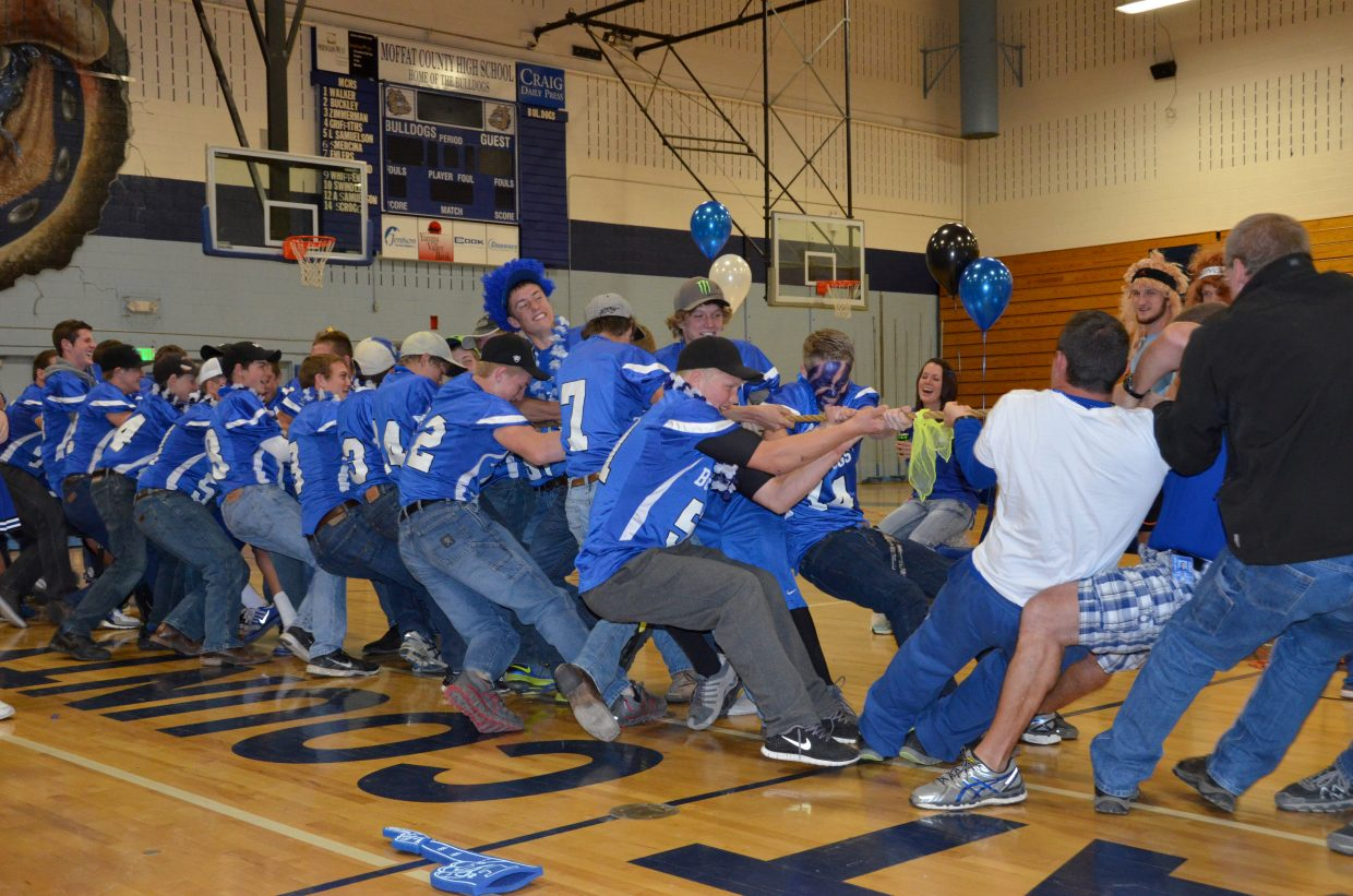 The football team battled their teachers in a tug-of-war Friday at the Moffat County High school pep assembly. The athletes took a lead at the beginning, but the teachers would pull back for a victory.