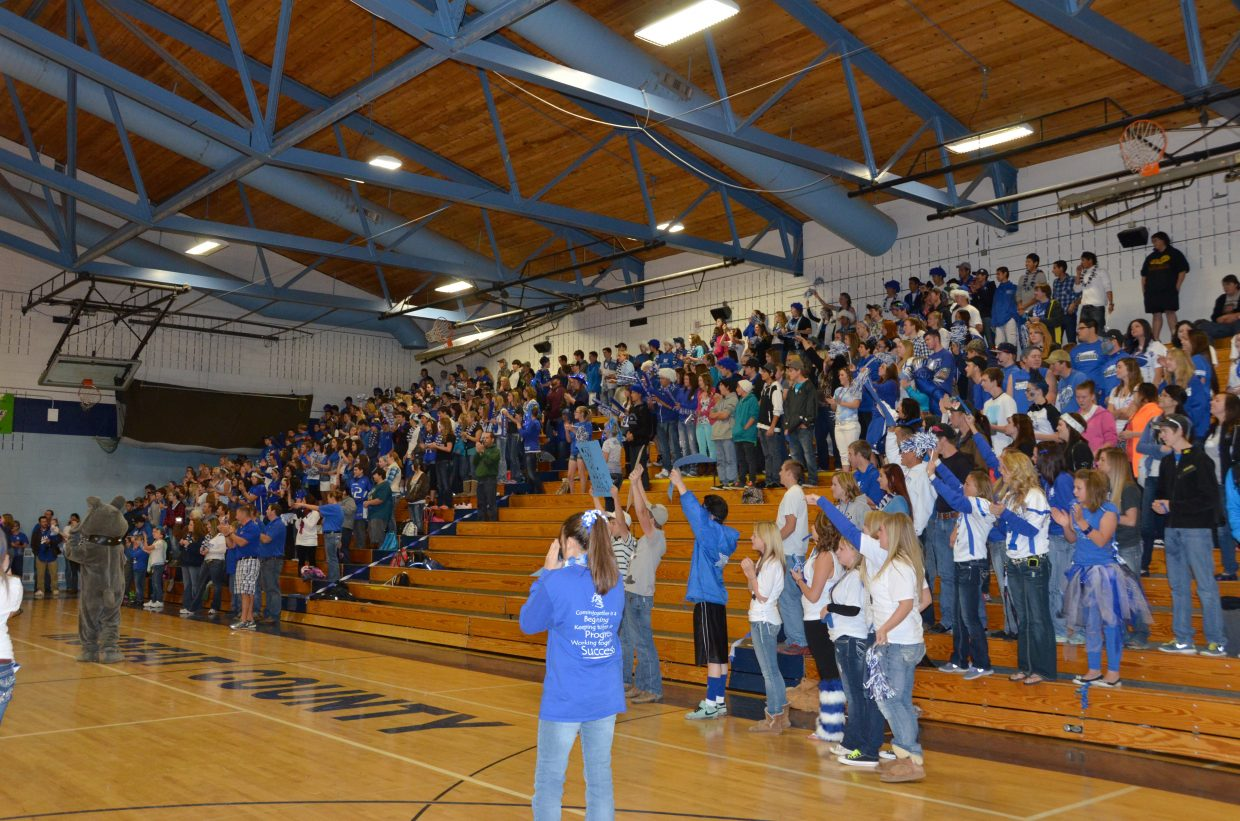 Moffat County High School held a pep assembly in advance of its homecoming football game Friday in the gym. Here, the student body welcomes the football team into the assembly.