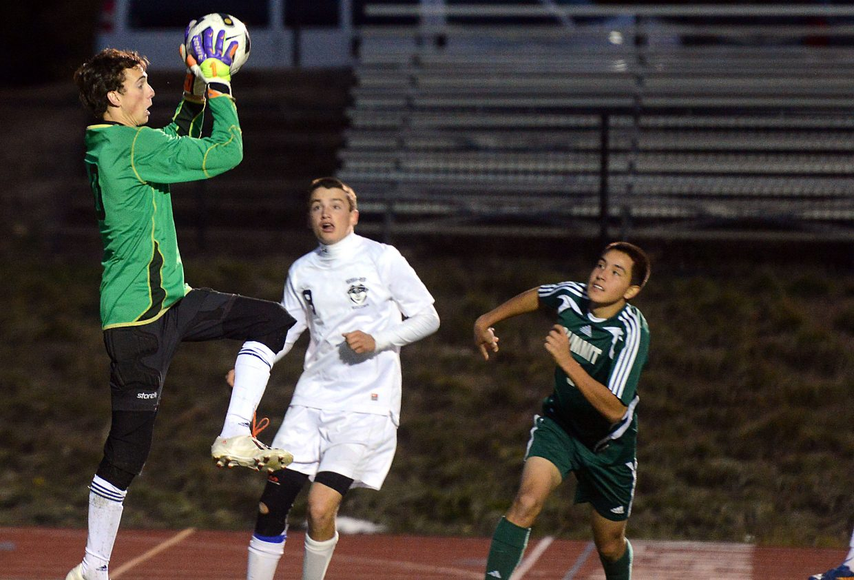 Steamboat goalie Jake Andersen pulls down a ball Thursday as the Sailors held on for a 1-0 win against Summit.