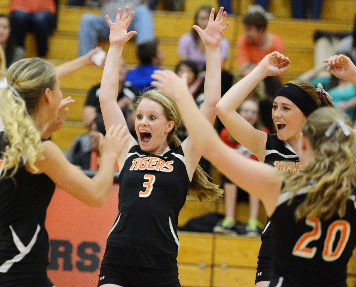 Hayden's Grace Wilkie celebrates a point Friday against North Park.