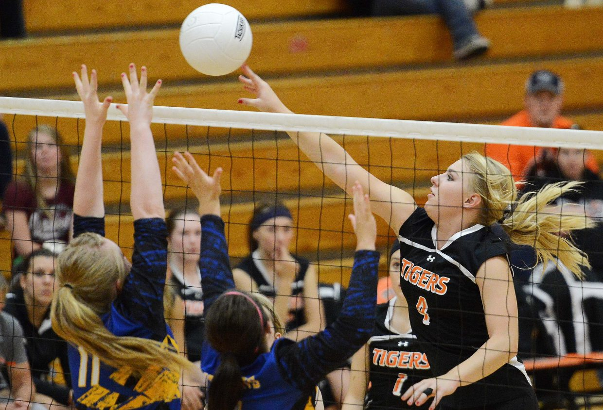 Hayden senior Jordan Temple taps the ball over the net Friday against North Park. The Tigers put together good stretches, but couldn't hold off the Wildcats.