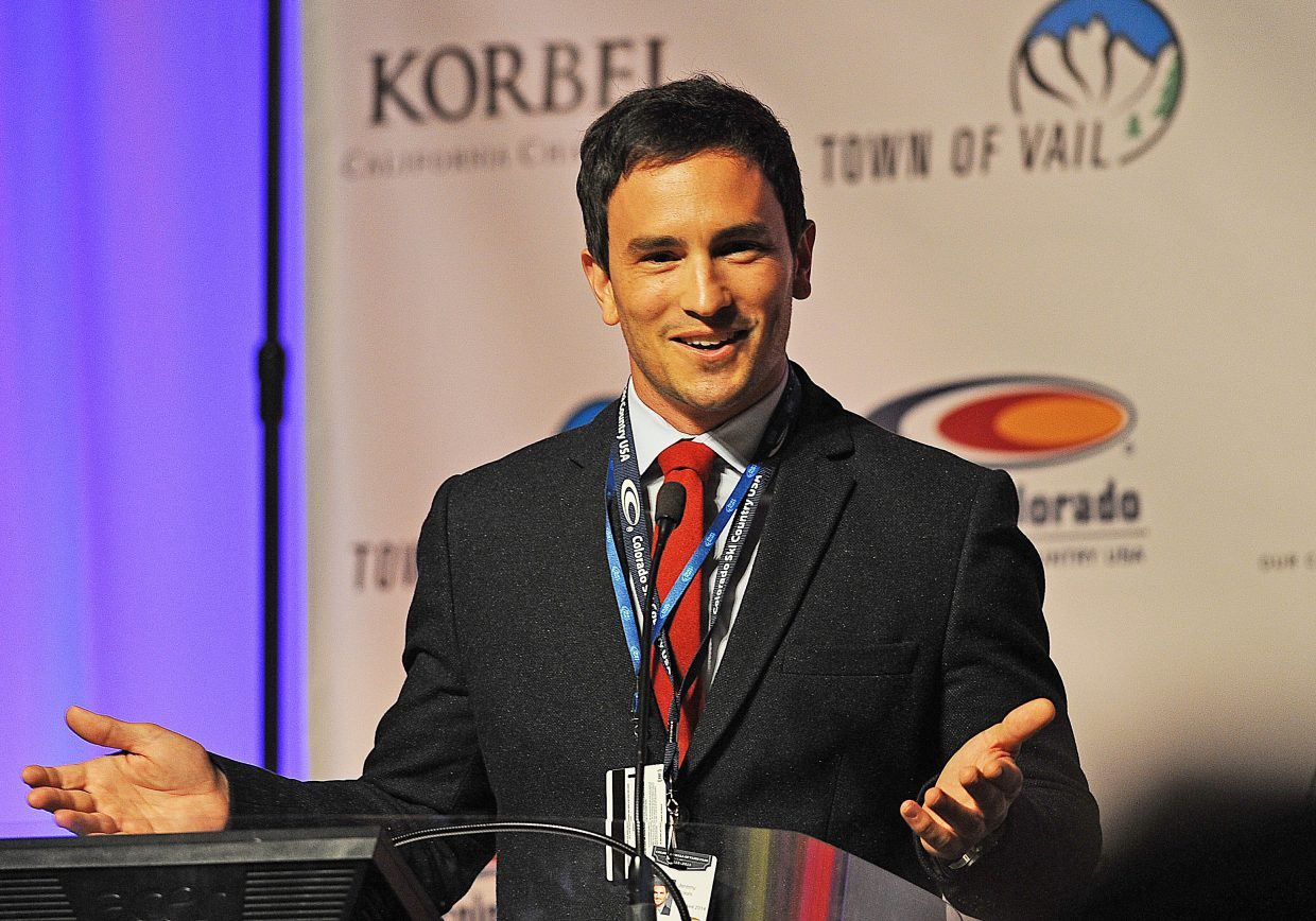 Jeremy Bloom speaks to the crowd in the ballroom at the Omni Interlocken Resort in Broomfield. Bloom was inducted into the Colorado Ski and Snowboard Hall of Fame along with Johnny Spillane, Mike Brown, CJ Mueller and Kingsbury Pitcher.