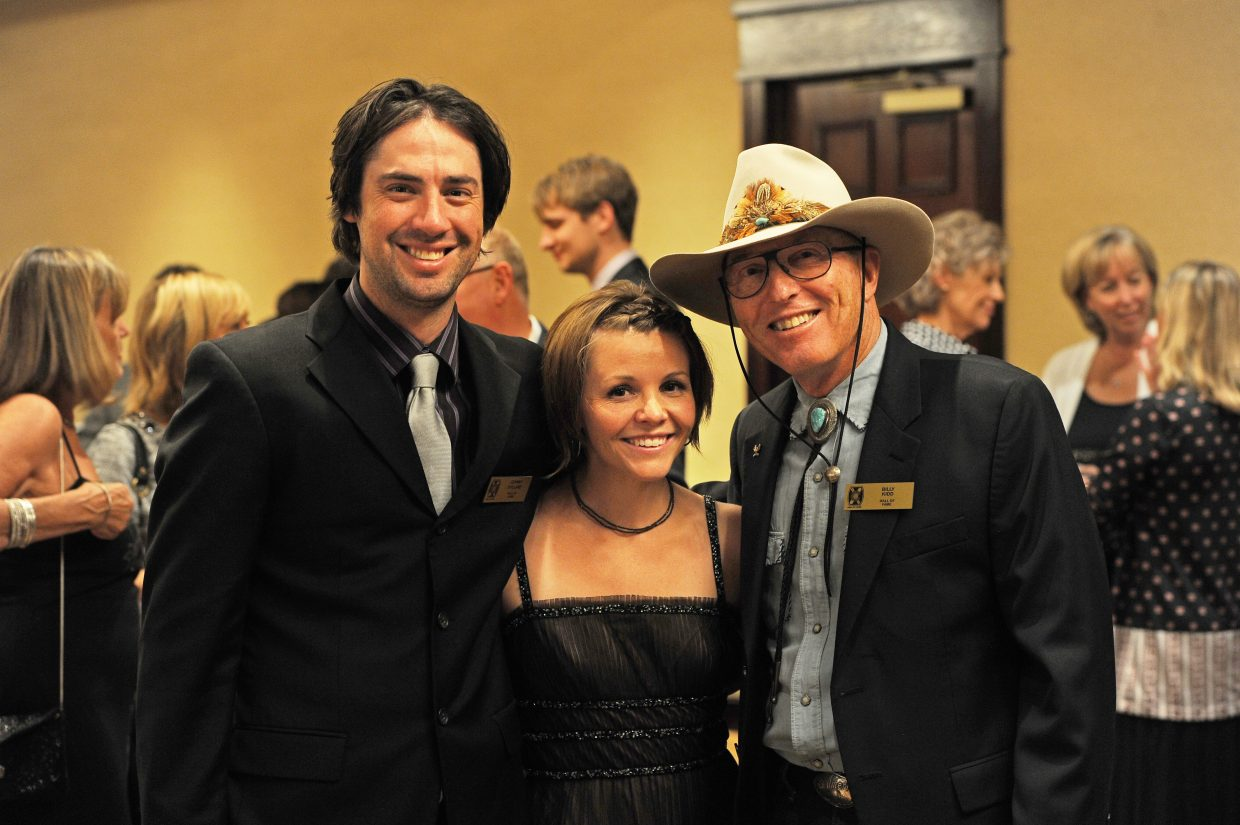 Johnny Spillane, who was named to the Colorado Ski and Snowboard Hall of Fame on Friday night, poses with his wife, Hilary, and skiing legend Billy Kidd at the Omni Interlocken Resort n Broomfield prior to being inducted. Spillane is part of the Class of 2014, which also included Jeremy Bloom, Mike Brown, CJ Mueller and Kingsbury Pitcher.
