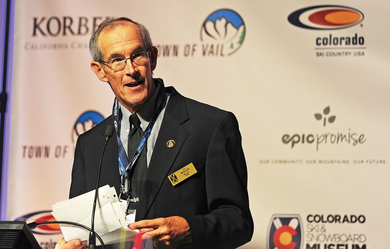 CJ Mueller speaks after being inducted in the Colorado Ski and Snowboard Hall of Fame on Friday night.