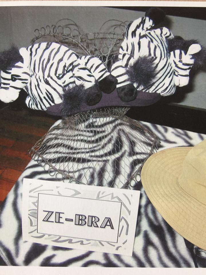 A zebra-themed decorated bra is displayed during the first annual Bust of Steamboat event in 2002.