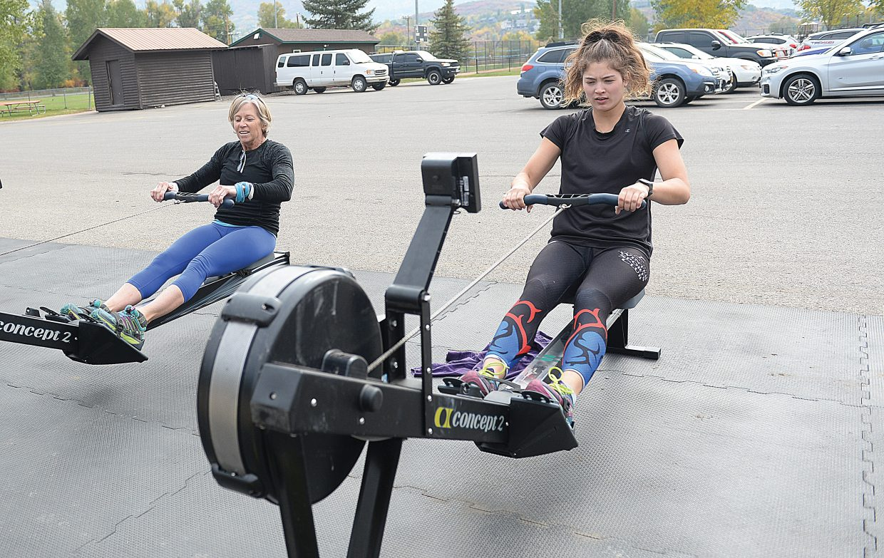 Steamboat Springs graduate Lark Skov works with former national rowing team and college coach Angie Herron earlier this summer at Howelsen Hill. Skov was recently named to the University of Washington rowing team.