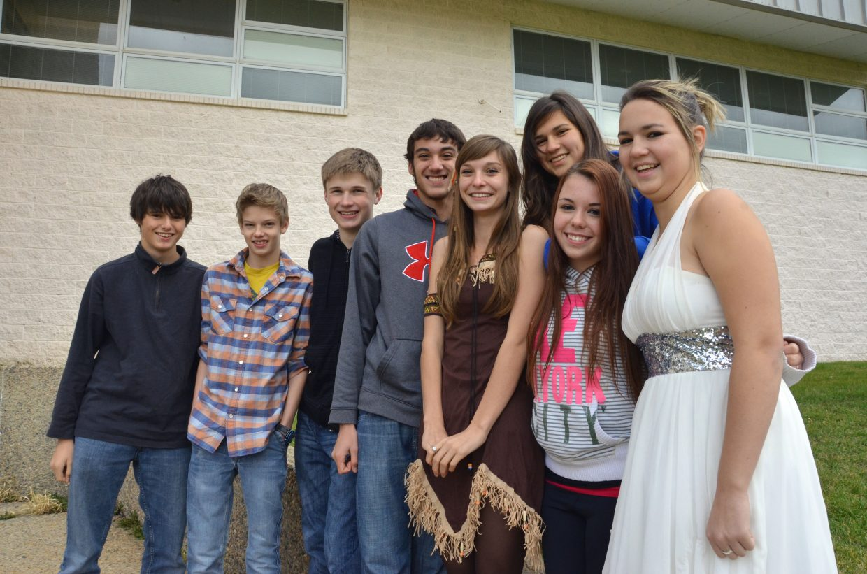 Moffat County High School students strike a pose during the Homecoming week event Prince/Princess Day.