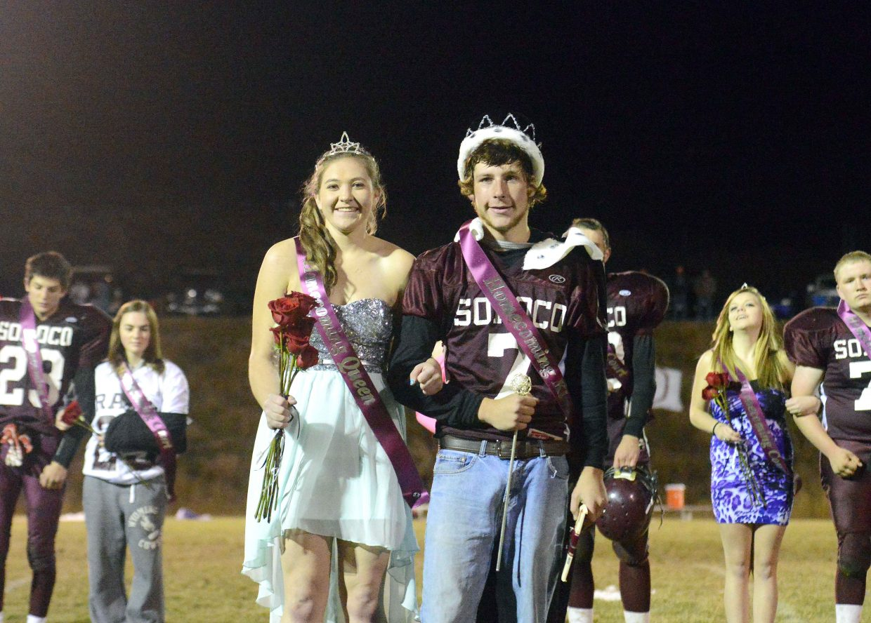 Jacey Schlegel and Matt Regan were named homecoming king and queen at Soroco on Friday night.