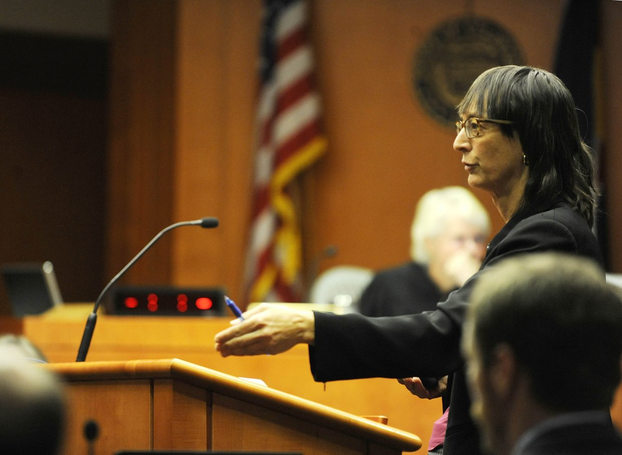 Public Defender Sheryl Uhlmann presents her opening statement Friday.