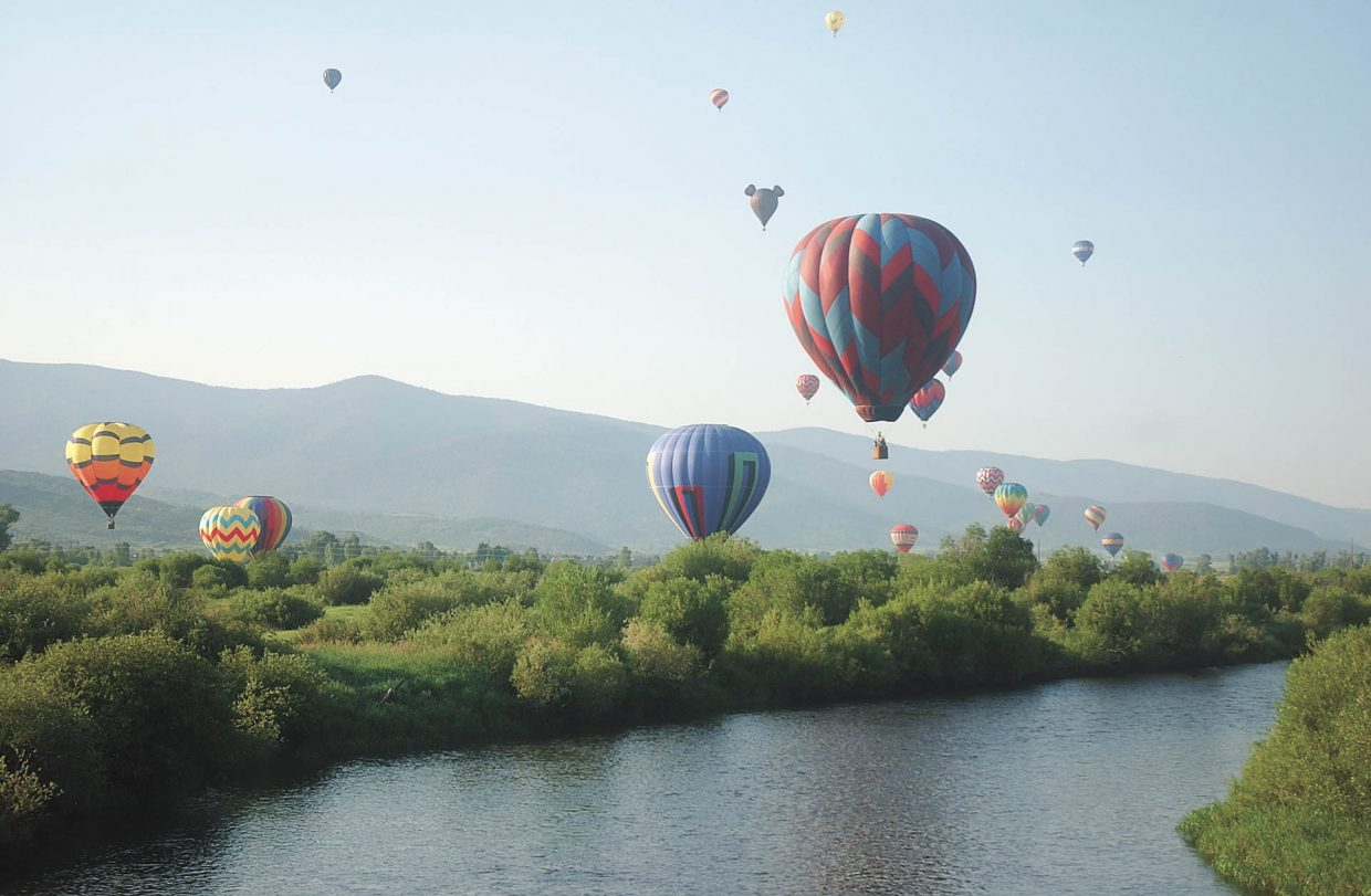Balloons fill the sky during the Steamboat Springs Chamber Resort Association's annual Hot Air Balloon Rodeo in 2008.