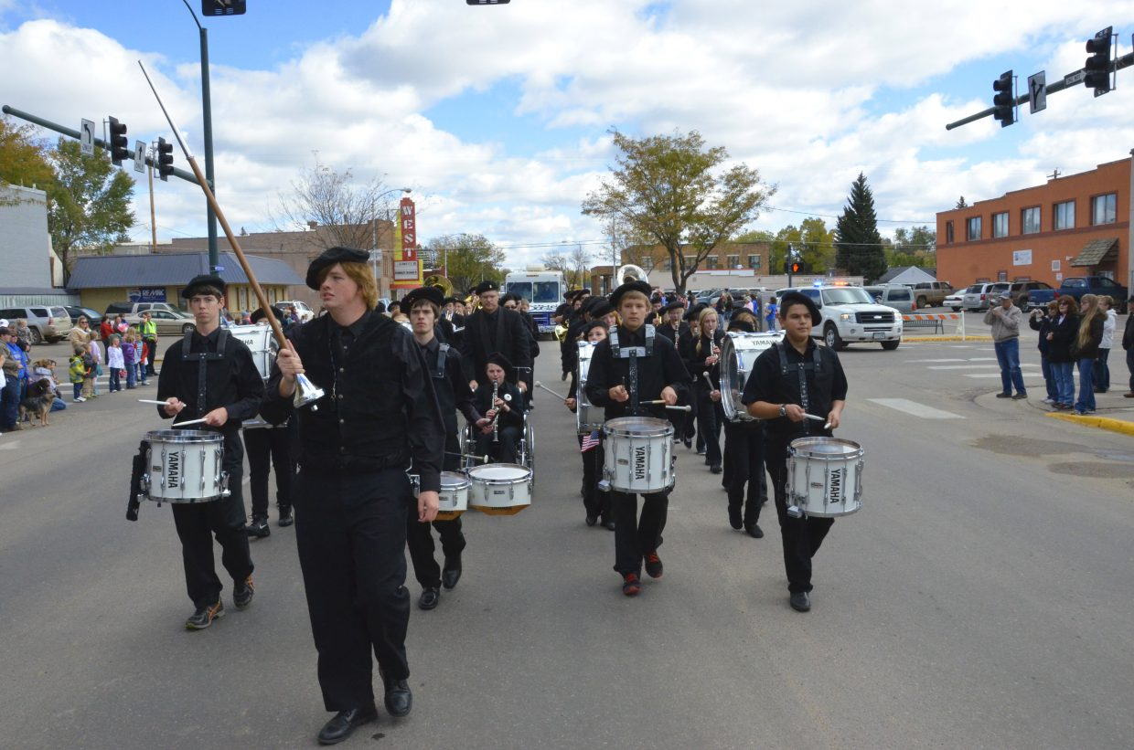 The Moffat County High School marching band keeps the beat during Friday afternoon's Homecoming parade in downtown Craig.