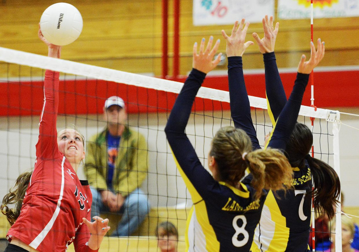 Steamboat's Jenna Miller swings for the ball Tuesday against Rifle.