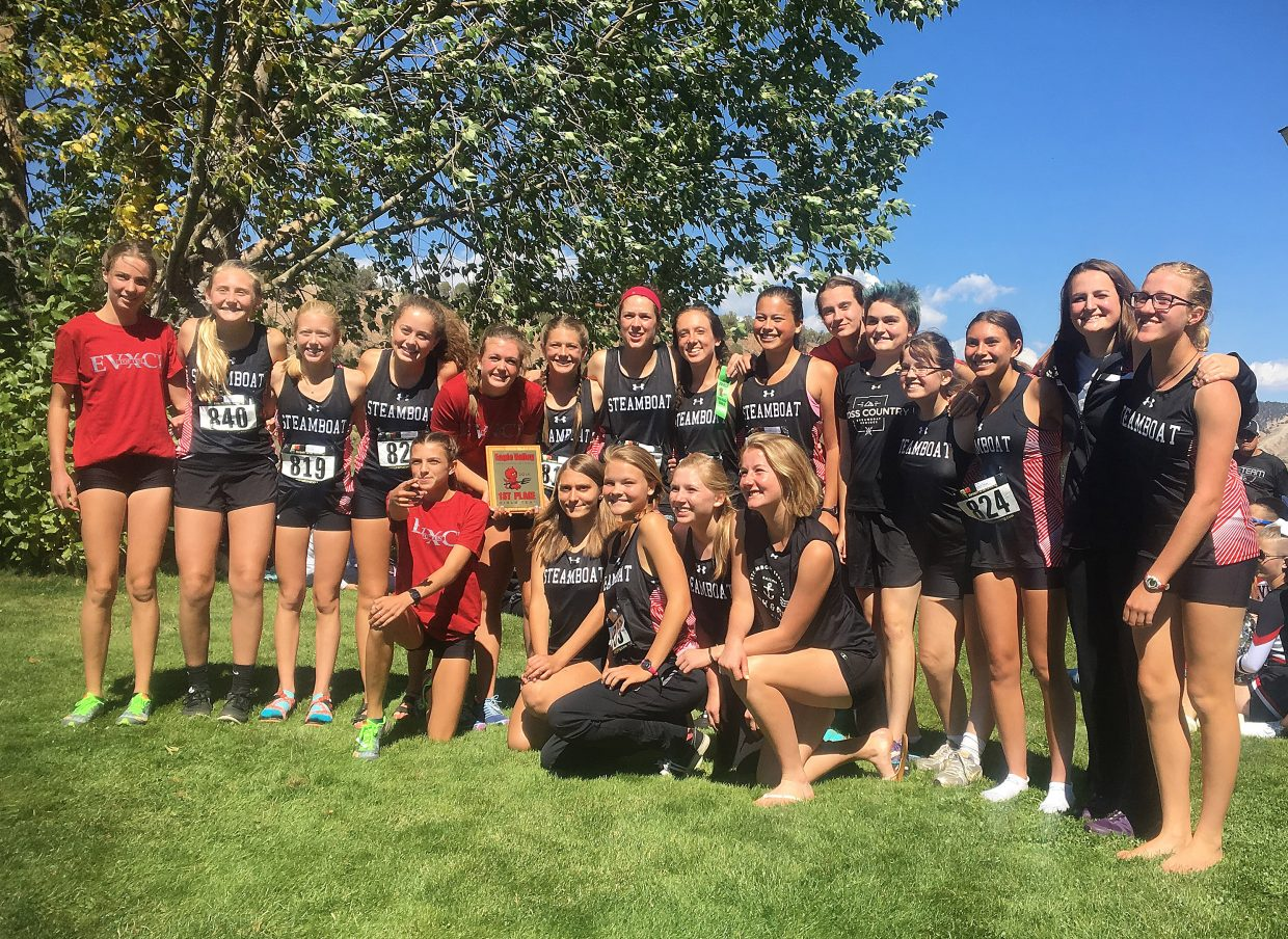 The Steamboat girls cross country team had the top three finishers in Friday's regional championship race and six in the top 23 as the team ran away with the regional championship at a race in Delta.