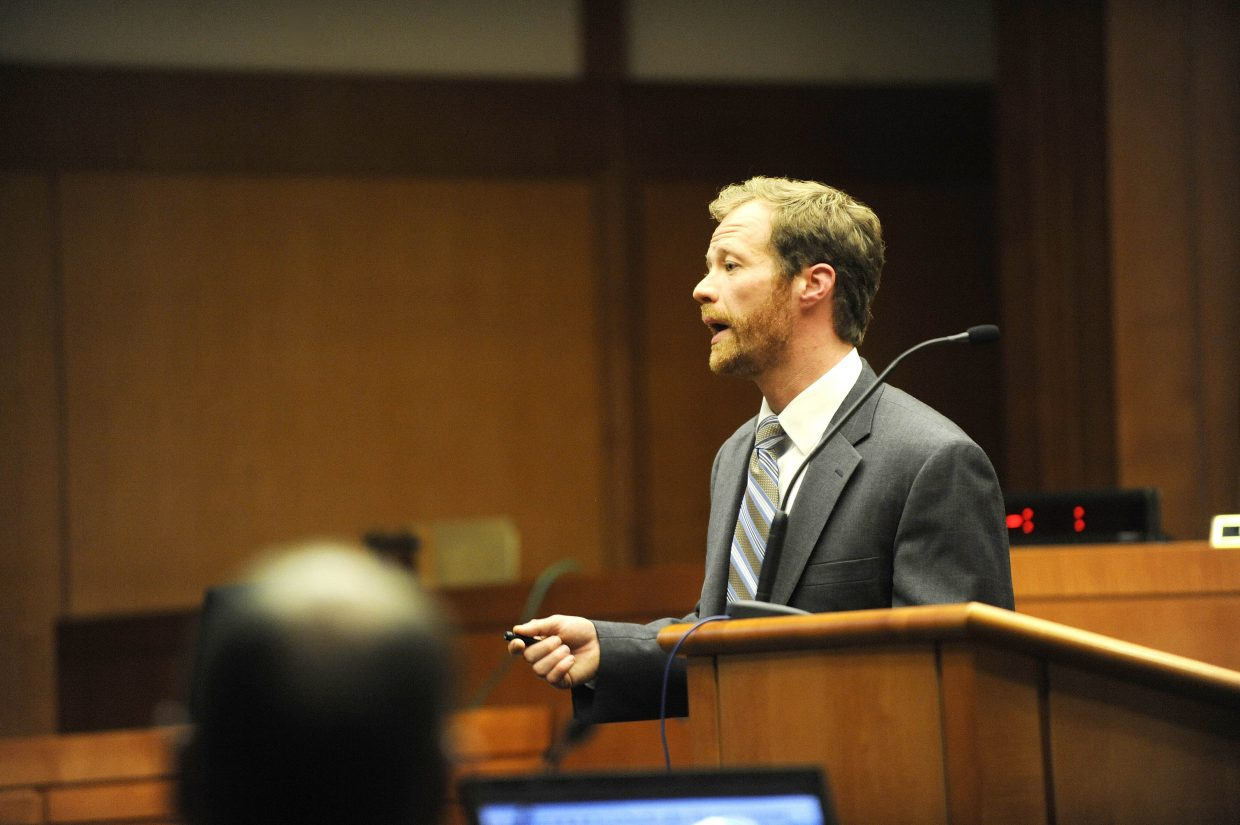 Routt County Deputy District Attorney Eliot Thompson speaks to jurors during closing arguments Tuesday.