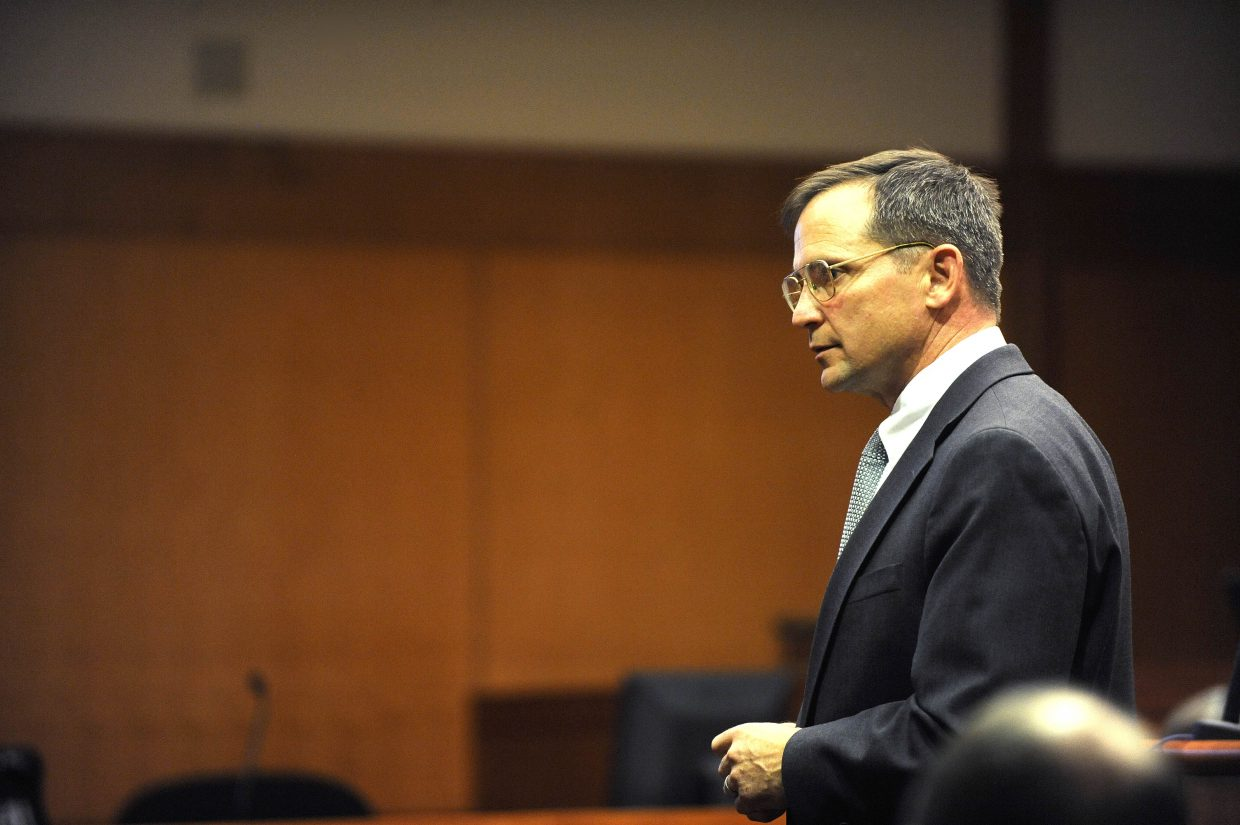 Routt County District Attorney Brett Barkey speaks to jurors during closing arguments Tuesday.