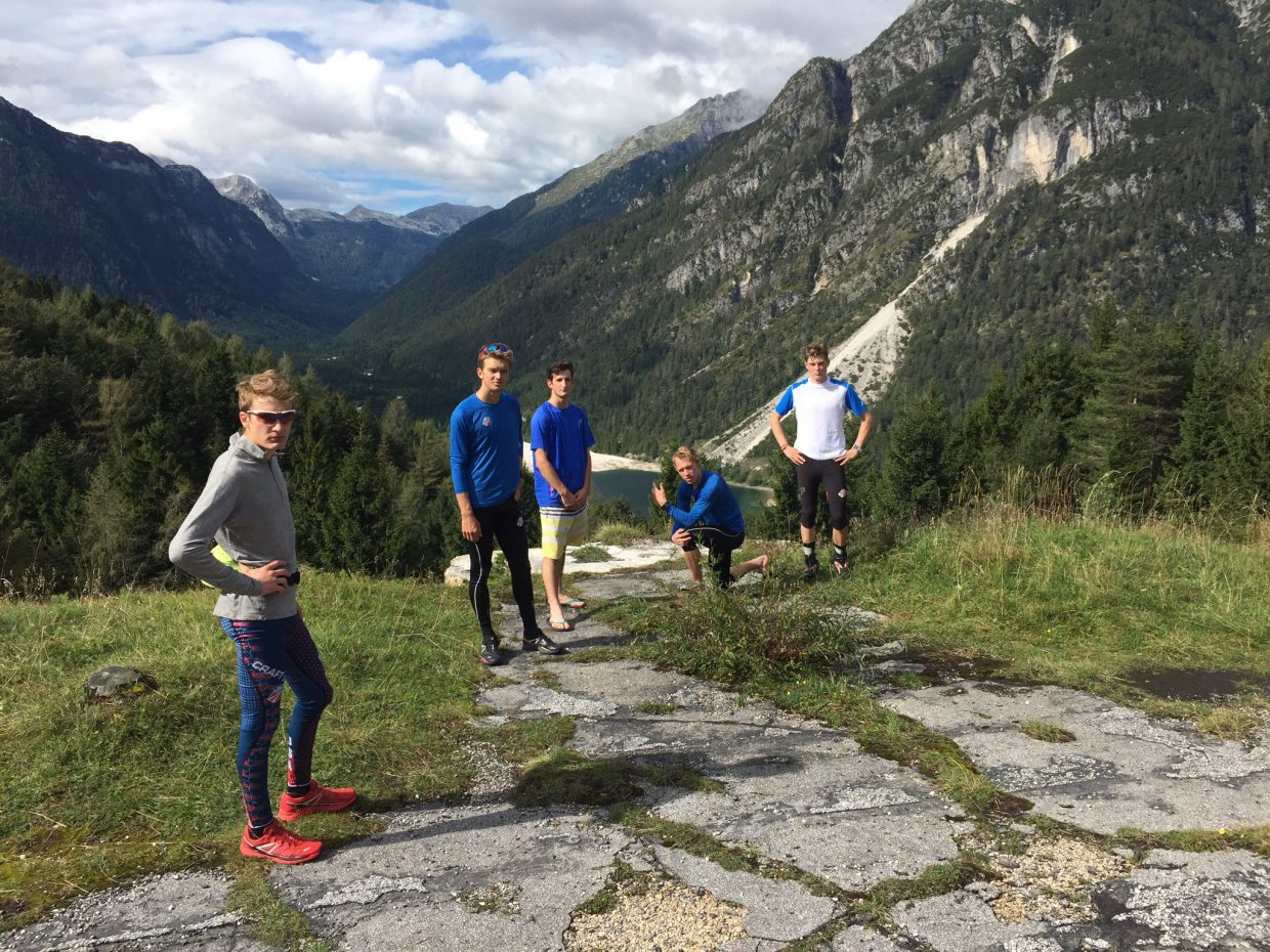U.S. Nordic combined skiers —Adam Looms, left, Jasper Good, Grant Andrews, Ben Berend and Koby Vargas — pose after a workout this autumn in Slovenia. The skiers spent as much as three months this autumn living and training in the Alps. They said the experience allowed them to focus on their sport and train shoulder to shoulder with some of the world's best.
