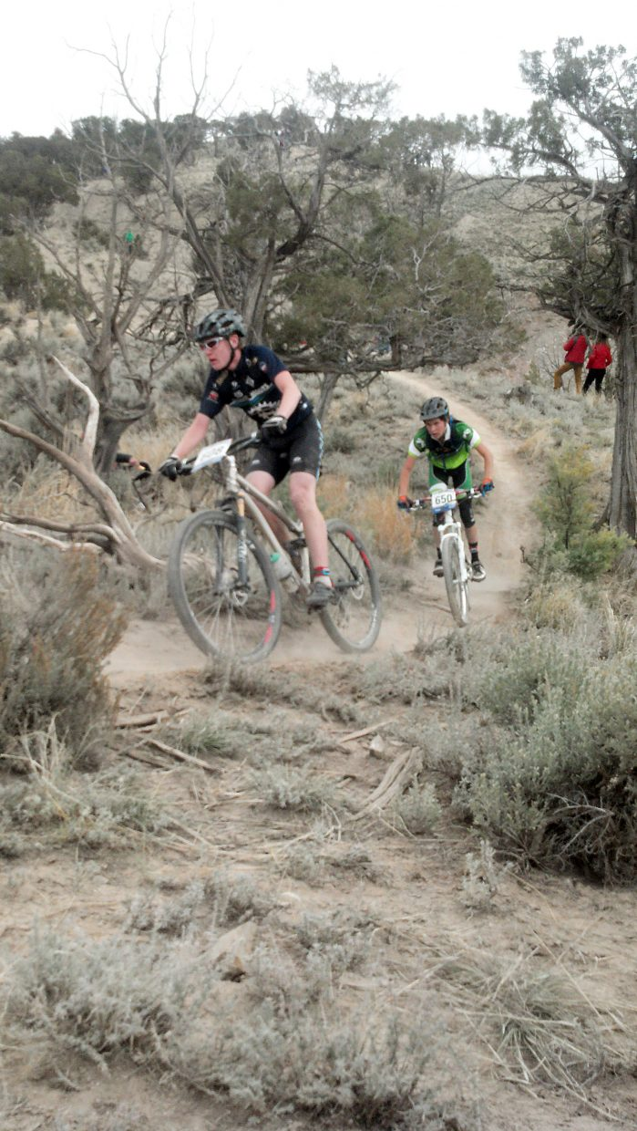 Steamboat sophomore Peter Rosenthal rides Sunday in the state championship mountain bike race in Eagle.