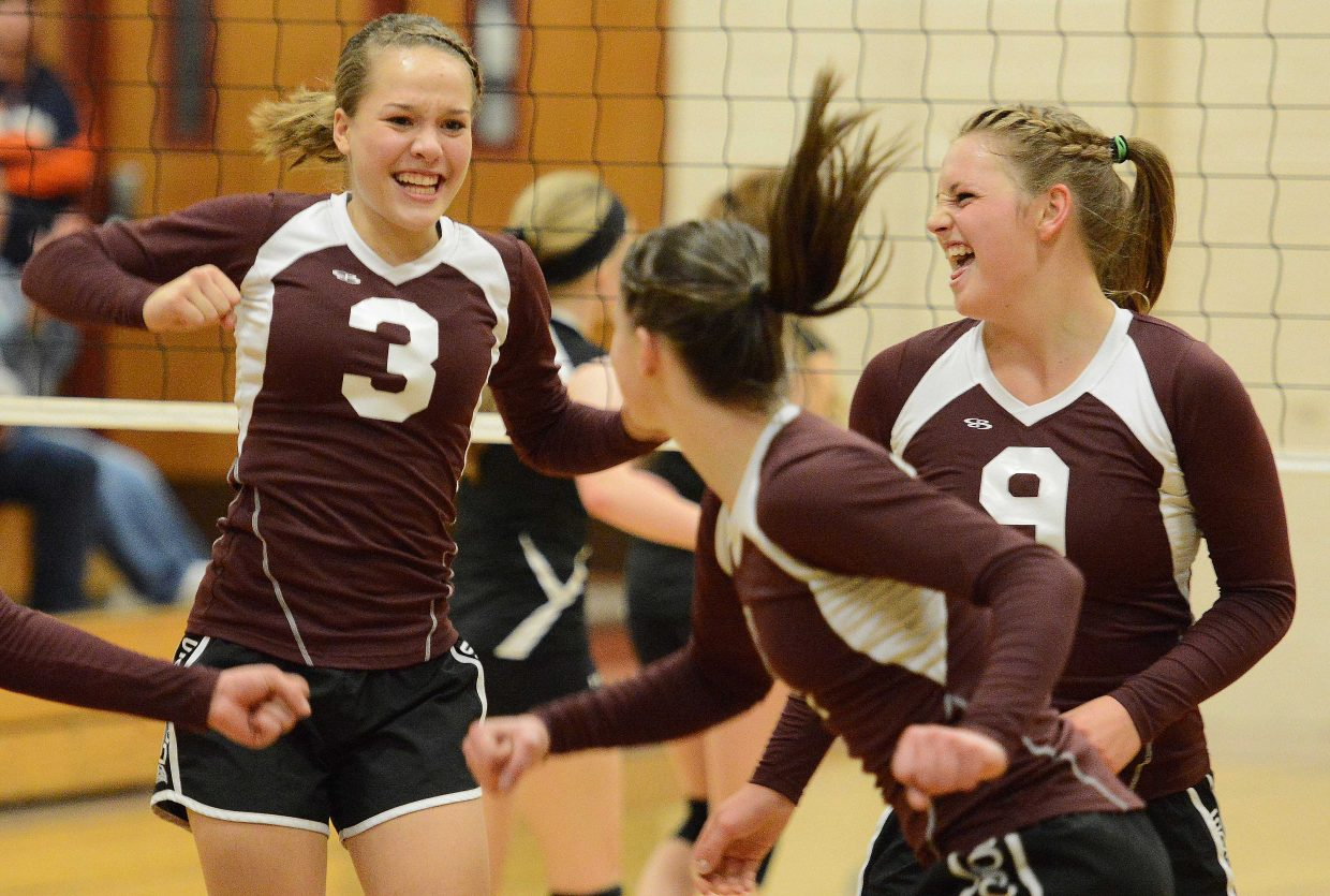 Soroco's Kalie Constine celebrates a point on Friday.