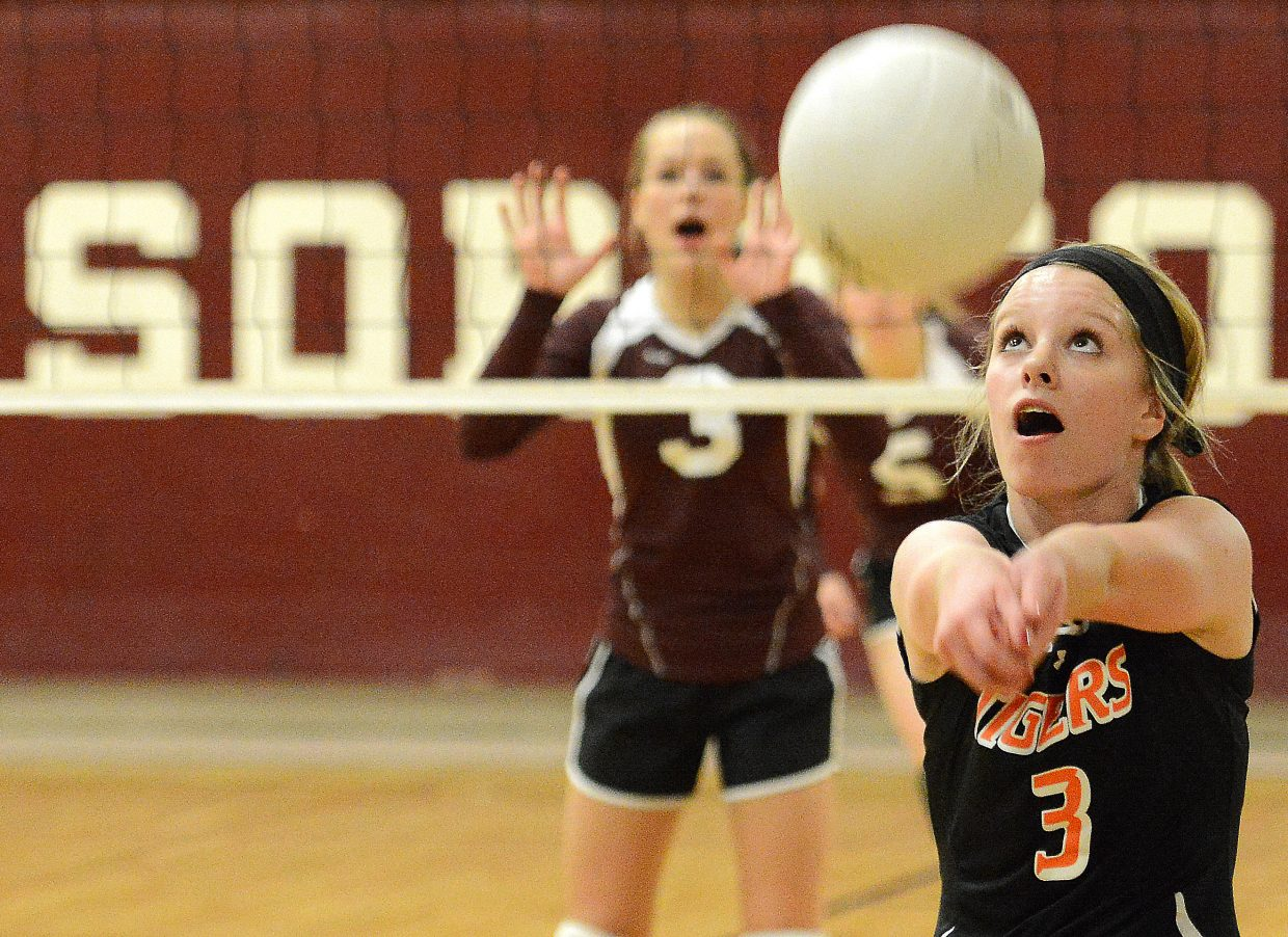 Hayden sophomore Grace Wilkie bumps the ball Friday while playing Soroco.
