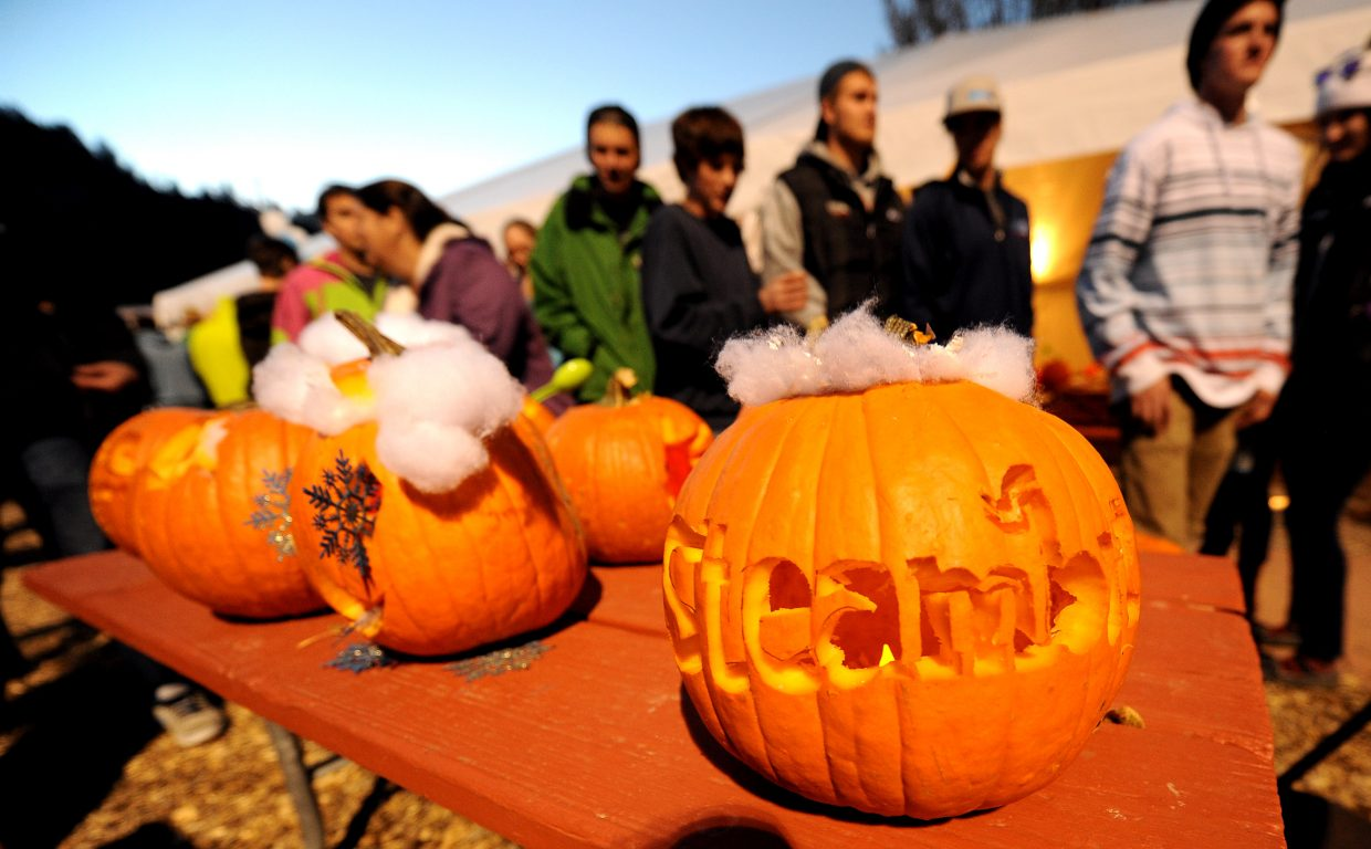 """Not all the pumpkins were carved into college-sense-of-humor jokes. One featured """"Steamboat."""""""