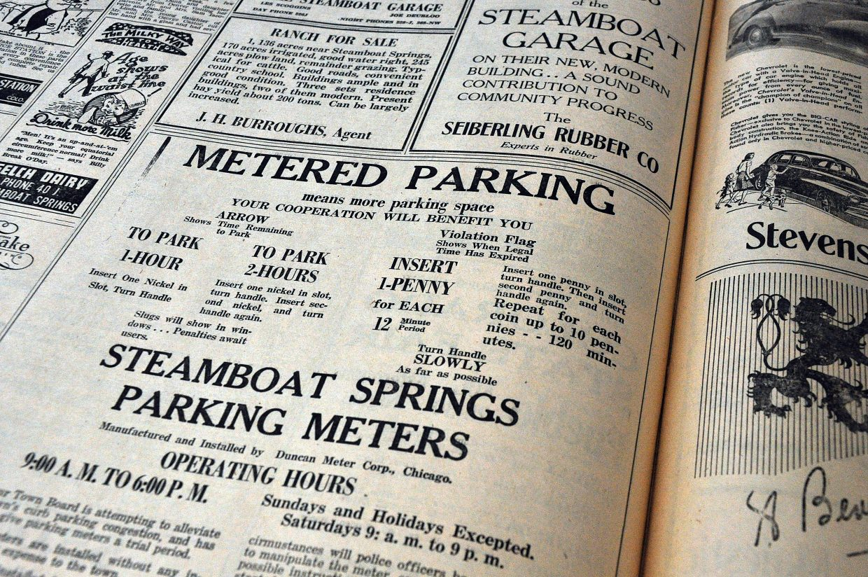 An advertisement in an August 1947 edition of the Steamboat Pilot announces the arrival of parking meters in downtown Steamboat Springs. The Steamboat Springs City Council on Tuesday will discuss possible changes to the downtown parking.