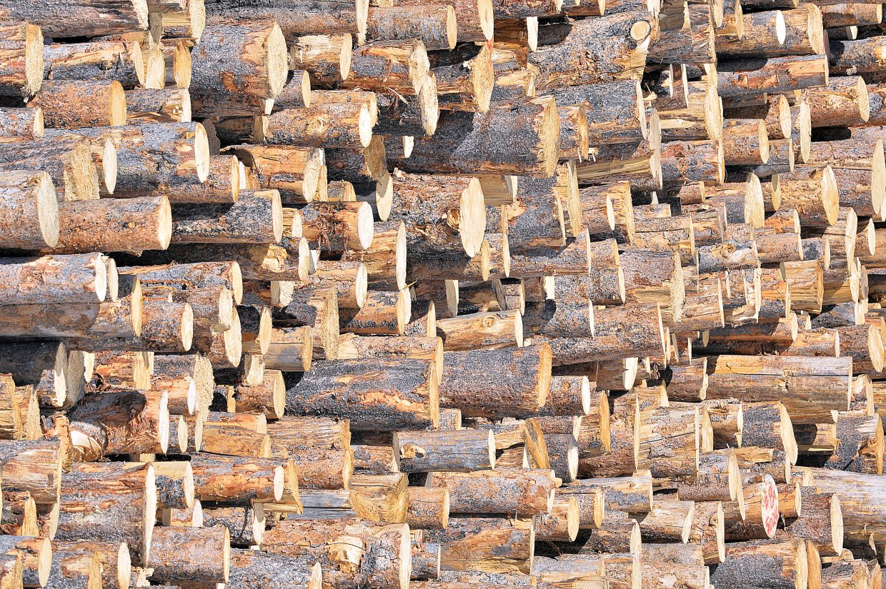 Logs stacked near the Routt County Rifle Club off on U.S. Highway 40 near Steamboat Springs form interesting patterns.