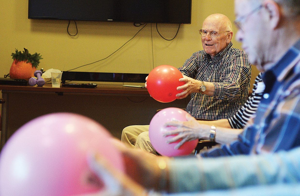 Gamber Tegtmeyer takes part in an exercise class at Casey's Pond Senior Living in Steamboat Springs.