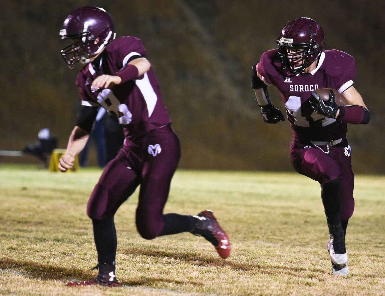 Soroco sophomore Jace Logan has been one of the top running backs in the state this fall. A balance of aggressiveness, balance and good, old football instincts have helped him break out and lead the Rams into Friday's playoff game at Sargent.