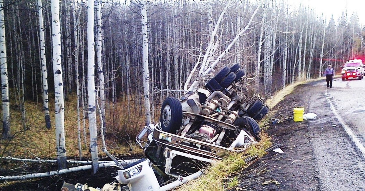 Oak Creek Fire Protection District firefighters were called at about 5 p.m. Monday to a report of a rollover crash on Routt County Road 27 about 1 mile west of Oak Creek. Chief Chuck Wisecup said the semitrailer was hauling coal when it lost control while going around a corner. The driver was not injured.