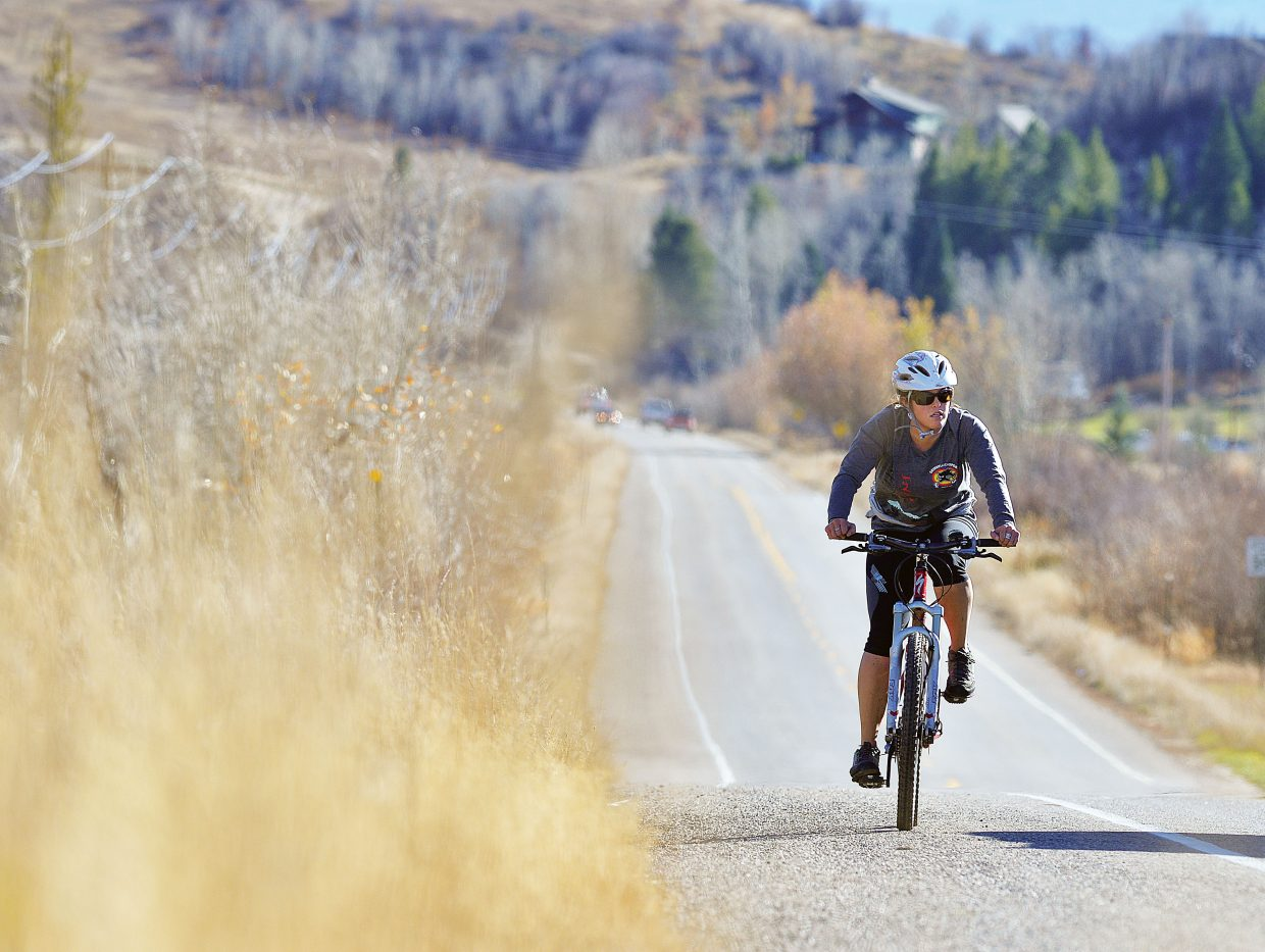 Ellie Southworth makes her way along Routt County Road 36 through Strawberry Park on Wednesday afternoon.