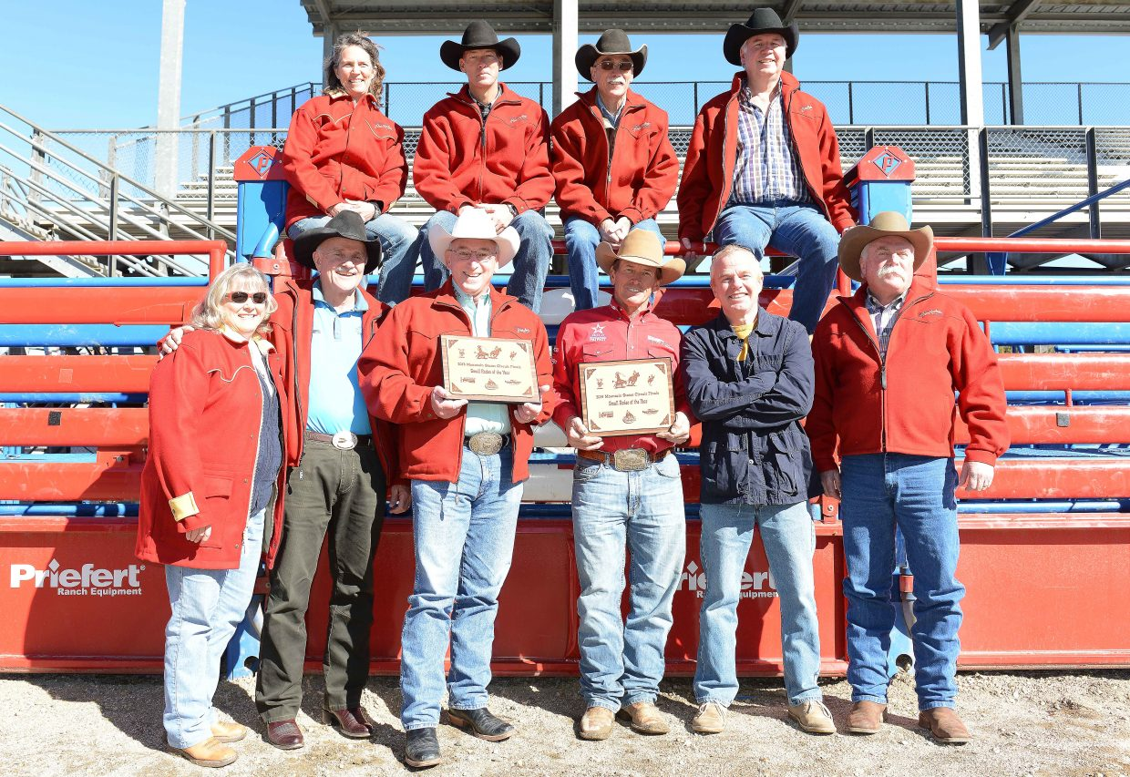 The Steamboat Springs Pro Rodeo Series board of directors pose at the Brent Romick Rodeo Arena in Steamboat Springs. The local rodeo was named the best small rodeo in the Mountain States Circuit.