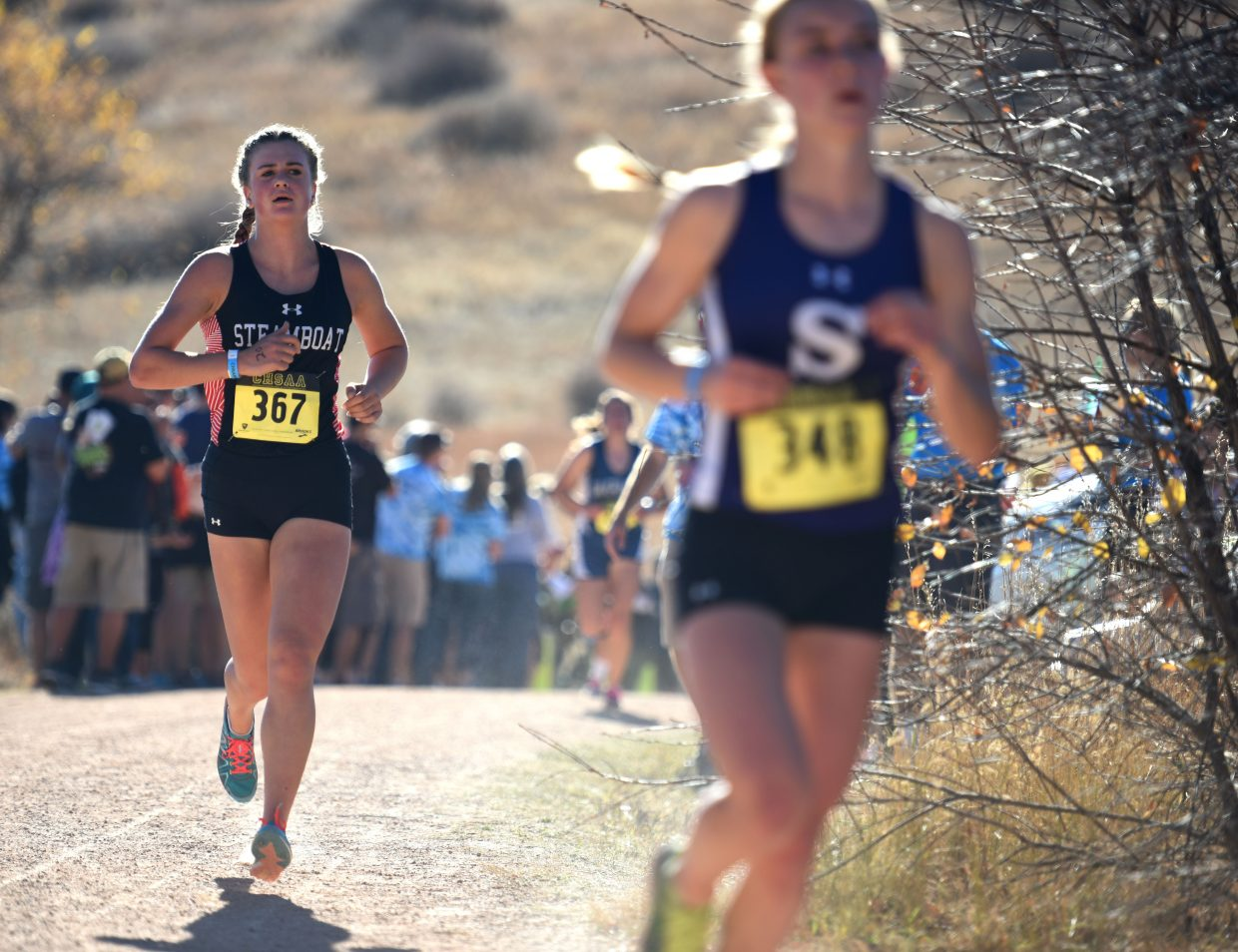 Sadie Cotton runs Saturday in the Class 3A state cross country championship race in Colorado Springs.