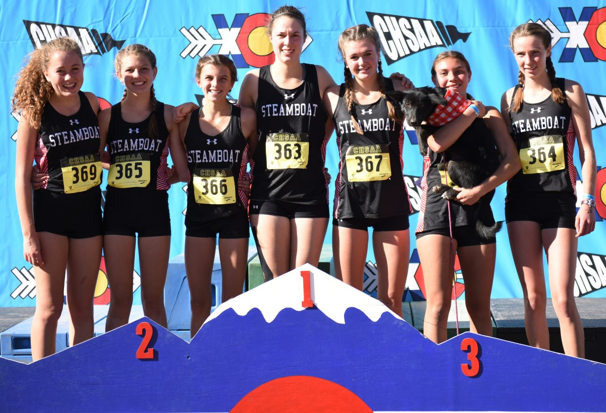 The Steamboat Springs High School girls cross country team, from left, Alicia Mitchell, Isabelle Boniface, Maggi Congdon, Meg Anderson, Sadie Cotton, Kandice Kittinger and Winter Boese, placed fourth on Saturday at the Class 3A state cross country meet in Colorado Springs.