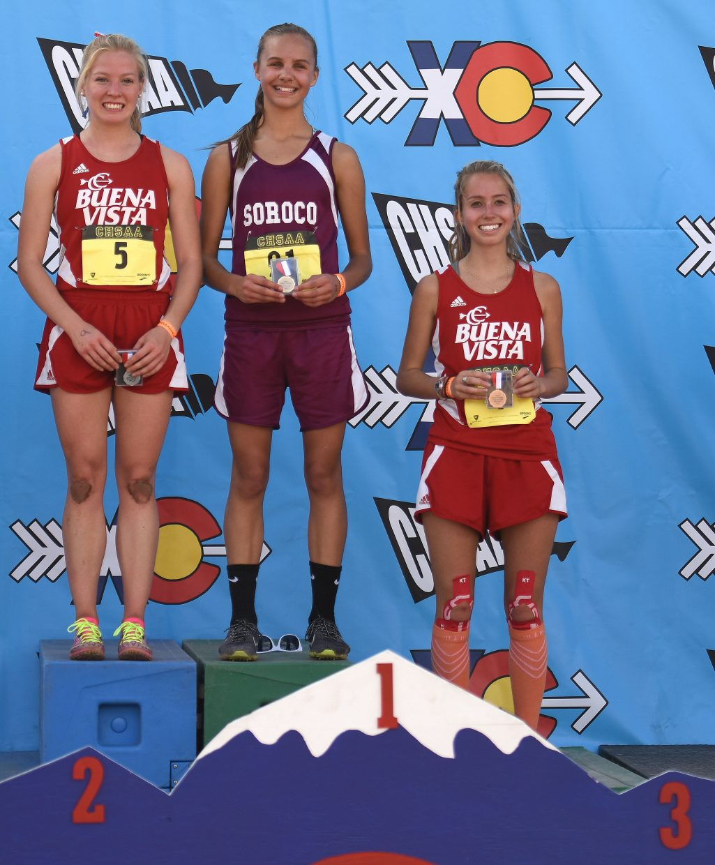 Chloe Veilleux stands on the podium, champion of Saturday's Class 2A state cross country race.