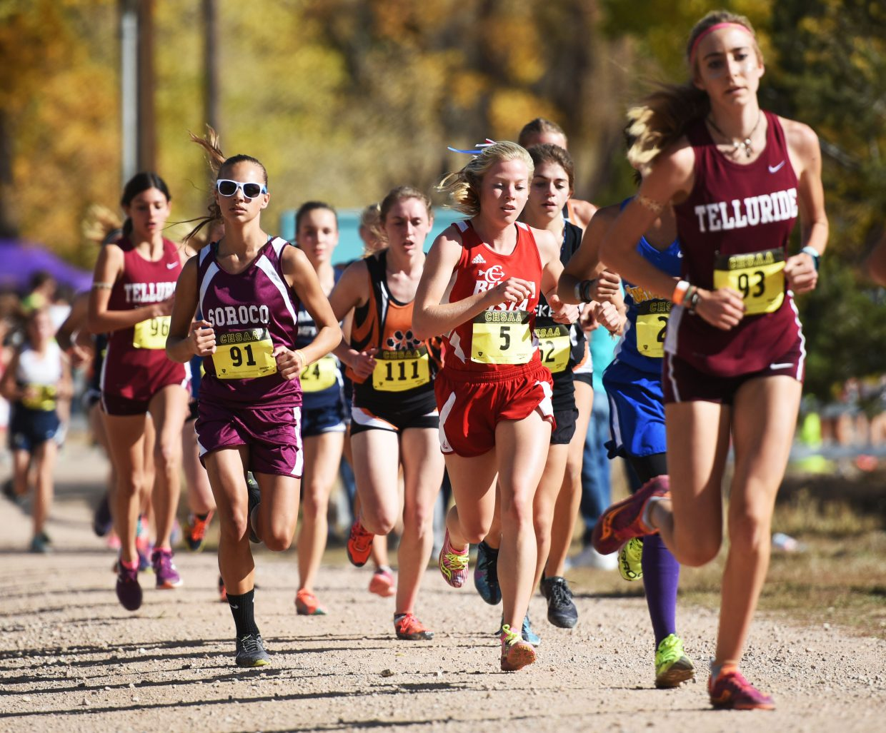 Chloe Veilleux runs with the lead pack Saturday at the Class 2A state cross country meet in Colorado Springs.