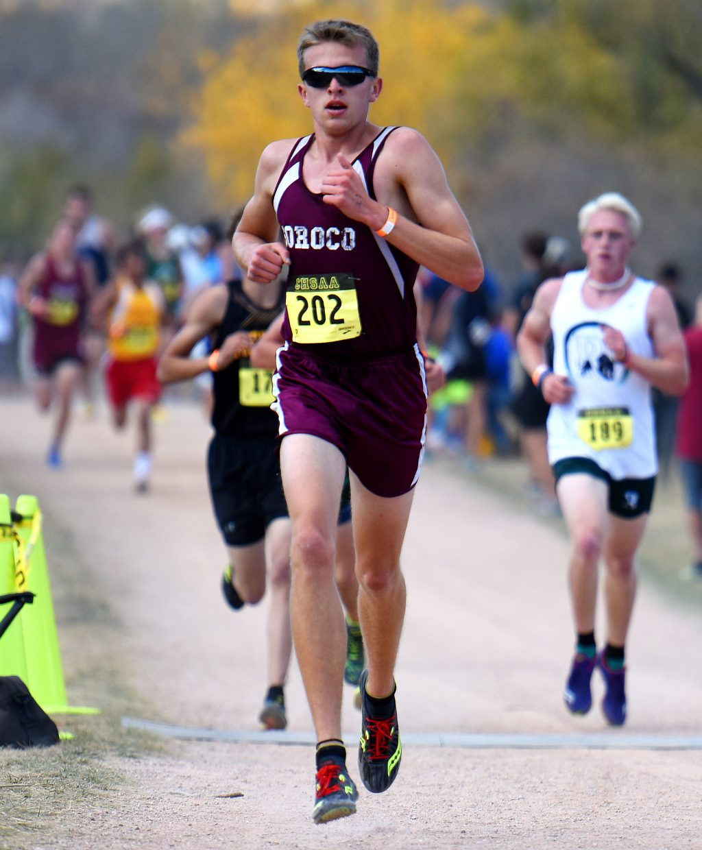 Soroco's Ben Kelley leads a pack of runners Saturday at the Class 2A state championships in Colorado Springs. He went on to finish fourth in the race.